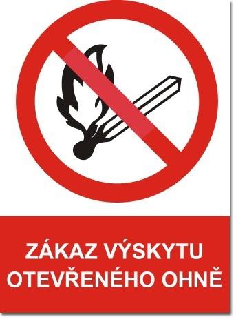 Požár bezpečnostní tabulky zákazové a výstražné